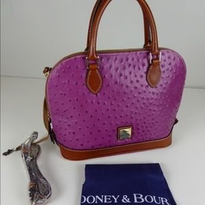 Dooney & Bourke Zip Leather Ostrich Dome Satchel